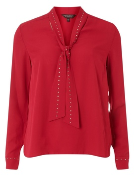 Fuchsia Pussybow Long Sleeve Top by Dorothy Perkins