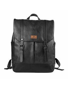 Koolertron Pu Leather School Backpacks Casual Laptop Daypacks (Black) by Amazon