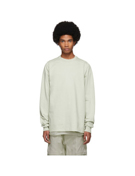 Grey Short Crewneck Sweater by Rick Owens