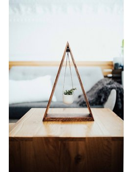 Trending Hanging Triangle Planter Wood For Succulents And Air Plants, Hanging Planter, Triangle Shelf, Wood Shelf by Etsy