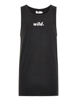 Washed Black 'wild' Print Vest by Topman