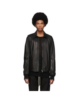 Black Leather Rotterdam Jacket by Rick Owens