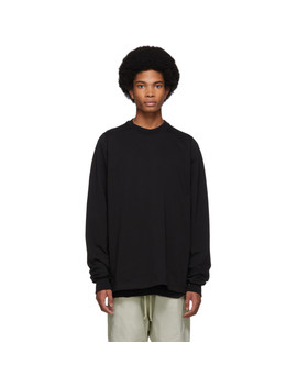 Black Short Crewneck Sweater by Rick Owens