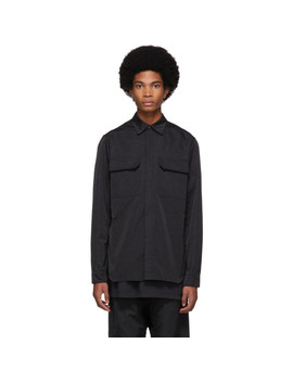Black Textured Satin Work Shirt by Rick Owens