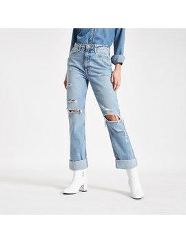 Middenblauwe Mom Jeans Met Gescheurde Omgeslagen Zoom by River Island