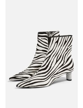 Mane Zebra Jewel Ankle Boots by Topshop