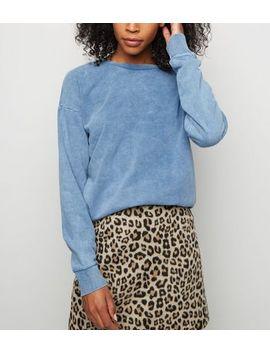 Bright Blue Acid Wash Sweatshirt by New Look