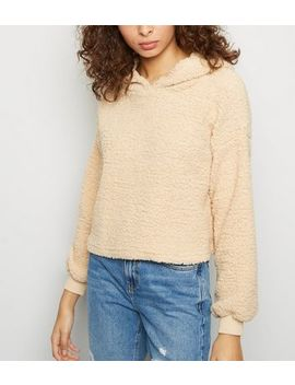 Cameo Rose Stone Faux Teddy Fur Hoodie by New Look
