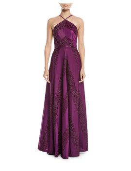 Renata Glitter Chevron A Line Halter Dress by Zac Posen