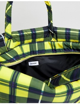 Weekday Padded Check Tote Bag by Weekday