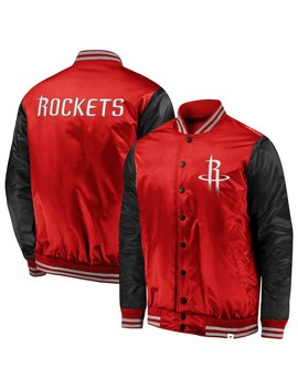 Houston Rockets Fanatics Branded Iconic Tackle Twill Satin Jacket – Red/Black by Fanatics Branded