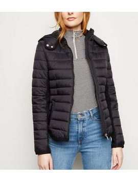 Black Hooded Lightweight Puffer Jacket by New Look