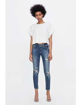 Jeans Z1975 Banda Lateral Brillo  Pitillo Fits Jeans Mujer by Zara