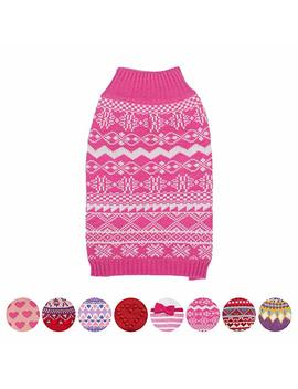 Blueberry Pet Vintage Tinsel Knit Fair Isle Dog Jumper In Hollywood Cerise, Back Length 25cm, Pack Of 1 Clothes For Dogs by Blueberry Pet