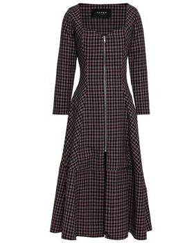 Checked Wool Blend Midi Dress by Paper London