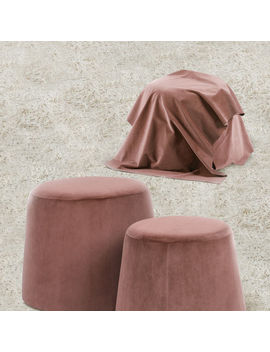 Set Of 2 Fabric Velvet Covered Pouffe Round Footstool Seat Foot Rest Colorful by Ebay Seller