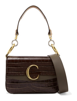 C Small Leather Trimmed Croc Effect Shoulder Bag by Chloé