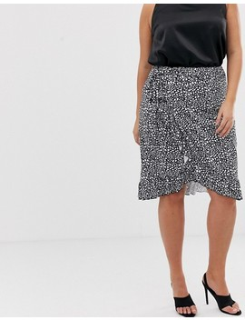 Pretty Little Thing Plus Wrap Midi Skirt With Frill Hem In Mono Spot by Pretty Little Thing