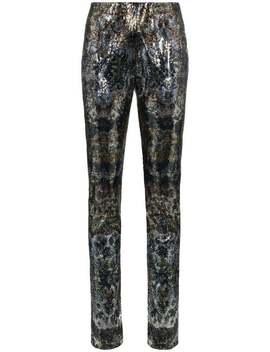 Sequinned Straight Leg Trousers by Mary Katrantzou