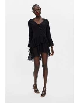 Blusa Plissada Combinada  Pretos Vestidos Mulher by Zara