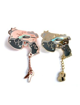 D.Va Light Gun Enamel Pin   Dva Pistol Pin   Dva Meka Bva B.Va Gun Bee Dva Rose Gold Enamel Pin by Etsy