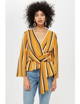Petite Stripe Knot Front Blouse by Topshop