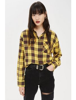 Petite Washed Boxy Check Shirt by Topshop