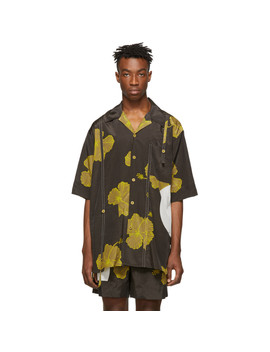 Brown & Yellow Oversized Hibiscus Floral Souvenir Tunic Shirt by 3.1 Phillip Lim