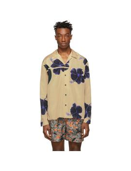 Beige & Blue Hibiscus Floral Souvenir Shirt by 3.1 Phillip Lim