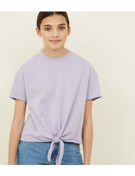 Girls Lilac Tie Front T Shirt by New Look
