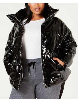 Plus Size Shiny Puffer Jacket by Calvin Klein Performance