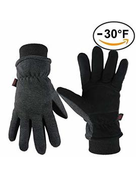 Ozero Winter Gloves Coldproof Wind Proof Insulated Glove With Deerskin Suede Leather Palm And Thermal Polar Fleece Back For Driving Cycling Skiing   Hand Warmers In Cold Weather For Men And Women by Amazon