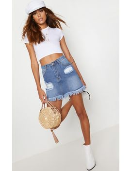 Mid Wash Denim Distressed Hem Midi Skirt by Prettylittlething