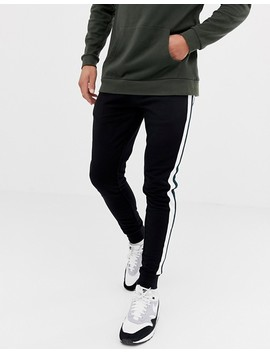 Asos Design Super Skinny Joggers With Side Stripes In Black by Asos Design