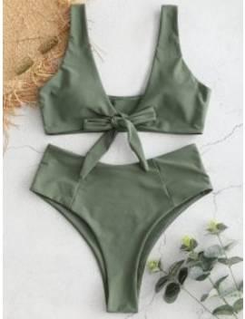 Bowknot High Waisted Bikini Set   Sea Turtle Green M by Zaful