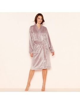Lounge & Sleep   Taupe Spot Embossed Fleece Long Sleeve Dressing Gown by Lounge & Sleep