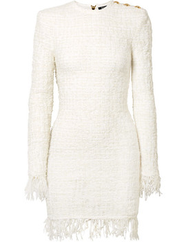 Button Embellished Fringed Metallic Tweed Mini Dress by Balmain