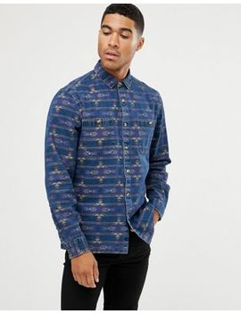 Asos Design Denim Overshirt With Geo Tribal Shirt by Asos Design