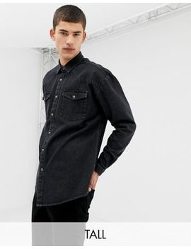 Collusion Tall Oversized Western Denim Shirt In Washed Black by Collusion