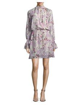 Shelli Floral Print Silk Metallic Short Dress by Neiman Marcus