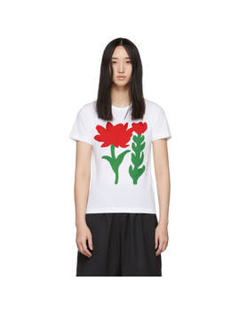 White Flower B Print T Shirt by Comme Des GarÇons Girl