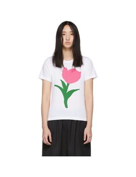 White Flower A Print T Shirt by Comme Des GarÇons Girl