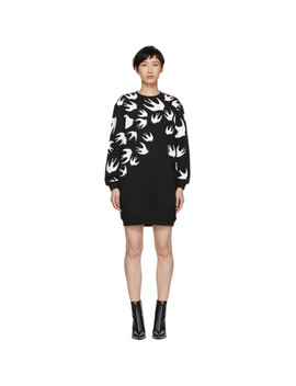 Black Swallow Signature Sweatshirt Dress by Mcq Alexander Mcqueen