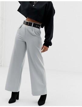 Asos Design Petite   Pantaloni Con Fondo Ampio E Pinces by Asos