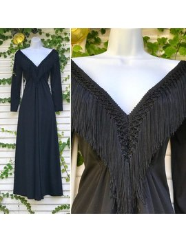 Jahrgang Tiefe V Neck Fransen Kleid, Lange Ärmel Kleid, 1970er Jahre Kleid, Gothic Hochzeitskleid, Alternative Hochzeitskleid, Schwarzen Hochzeitskleid, by Etsy