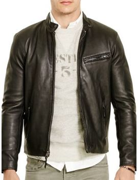 Lambskin Leather Café Racer Jacket by Polo Ralph Lauren