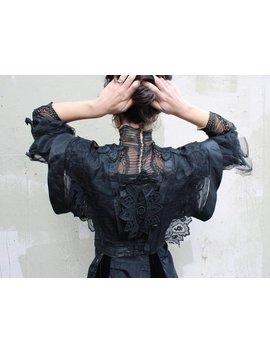 Antike Gotische Edwardian Mieder Jacke / / 1900 S Schwarz Seide Korsett Bluse Mit Schiere Chiffon Und Spitze Akzente / / Gibson Girl Trauer by Etsy
