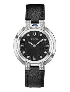 Women's Rubaiyat Diamond Accent Black Leather Strap Watch 35mm by Bulova