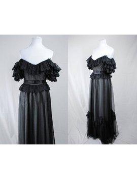 1970er Jahren Schwarze Spitze Aus Der Schulter Kleid / / Viktorianischen Schwarze Spitze Kleid / / Vintage Schwarz Spitze Kleid / Witchy Formale Kleid / 70er Jahre Boho Kleid / Goth by Etsy