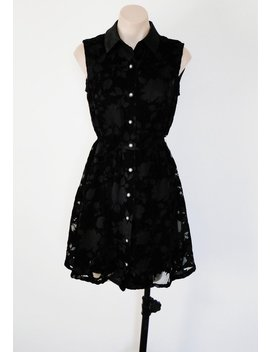 Jahrgang Vtg 90er Jahre Schwarz Schiere Floralen Ausbrennerstoff Samt Shirt Minikleid S! Gothic Witchy by Etsy